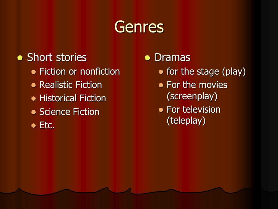 Genres Short stories Short stories Fiction or nonfiction Fiction or nonfiction Realistic Fiction Realistic Fiction Historical Fiction Historical Fiction Science Fiction Science Fiction Etc.