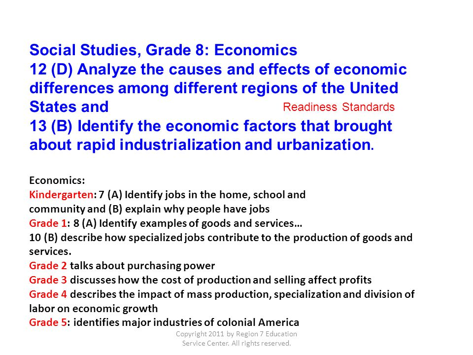 Copyright 2011 by Region 7 Education Service Center. All rights reserved. Economics: Kindergarten: 7 (A) Identify jobs in the home, school and communi