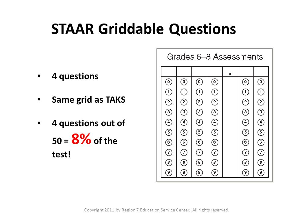 Copyright 2011 by Region 7 Education Service Center. All rights reserved. STAAR Griddable Questions 4 questions Same grid as TAKS 4 questions out of 5