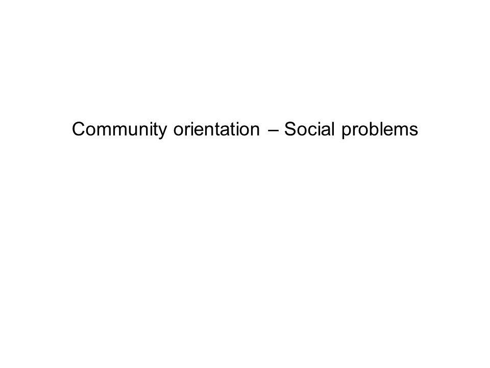 Community orientation – Social problems