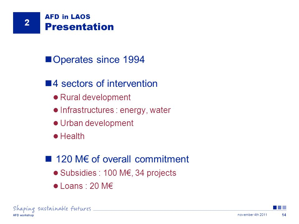 november 4th 2011 AFD workshop 14 AFD in LAOS Presentation Operates since 1994 4 sectors of intervention Rural development Infrastructures : energy, water Urban development Health 120 M€ of overall commitment Subsidies : 100 M€, 34 projects Loans : 20 M€ 2