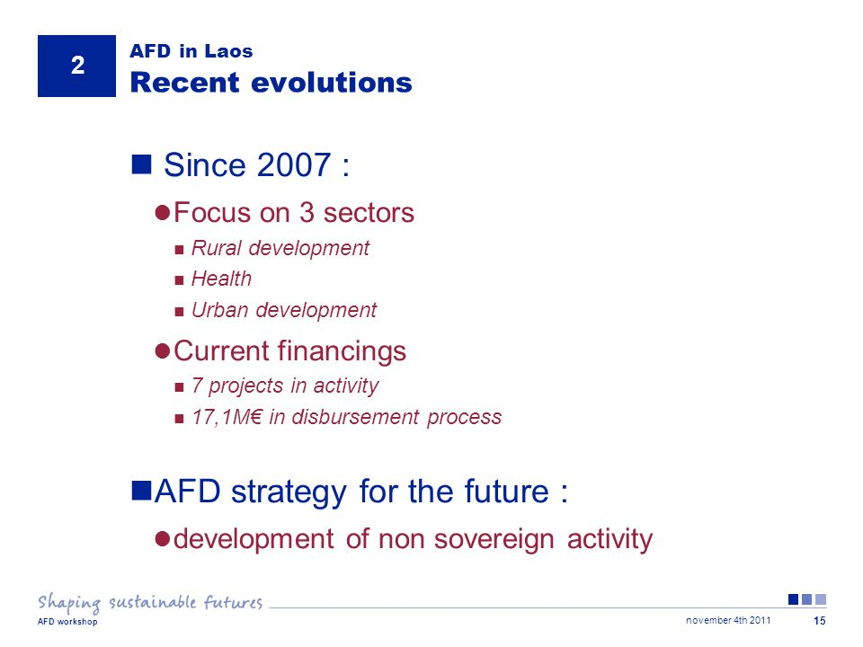 november 4th 2011 AFD workshop 15 AFD in Laos Recent evolutions Since 2007 : Focus on 3 sectors Rural development Health Urban development Current financings 7 projects in activity 17,1M€ in disbursement process AFD strategy for the future : development of non sovereign activity 2