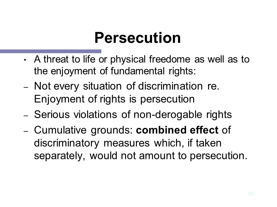 34 GROUNDS of persecution Race Religion Nationality Membership of a particular social group Political opinion