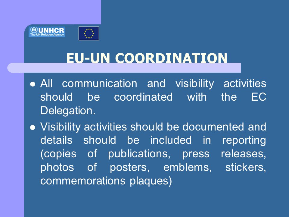 All communication and visibility activities should be coordinated with the EC Delegation.