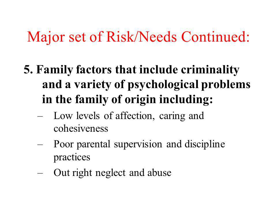 Major set of Risk/Needs Continued: 5. Family factors that include criminality and a variety of psychological problems in the family of origin includin