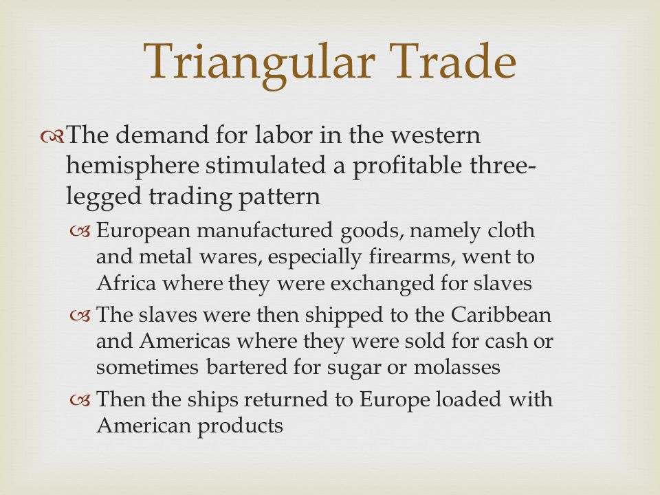 Triangular Trade  The demand for labor in the western hemisphere stimulated a profitable three- legged trading pattern  European manufactured goods,
