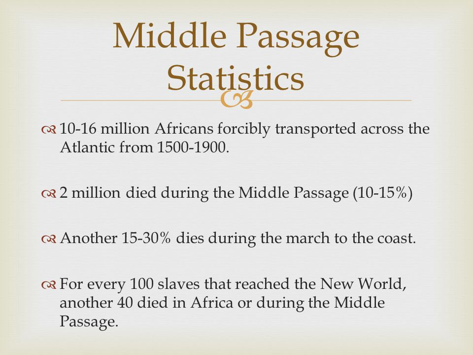  Middle Passage Statistics  10-16 million Africans forcibly transported across the Atlantic from 1500-1900.  2 million died during the Middle Passa