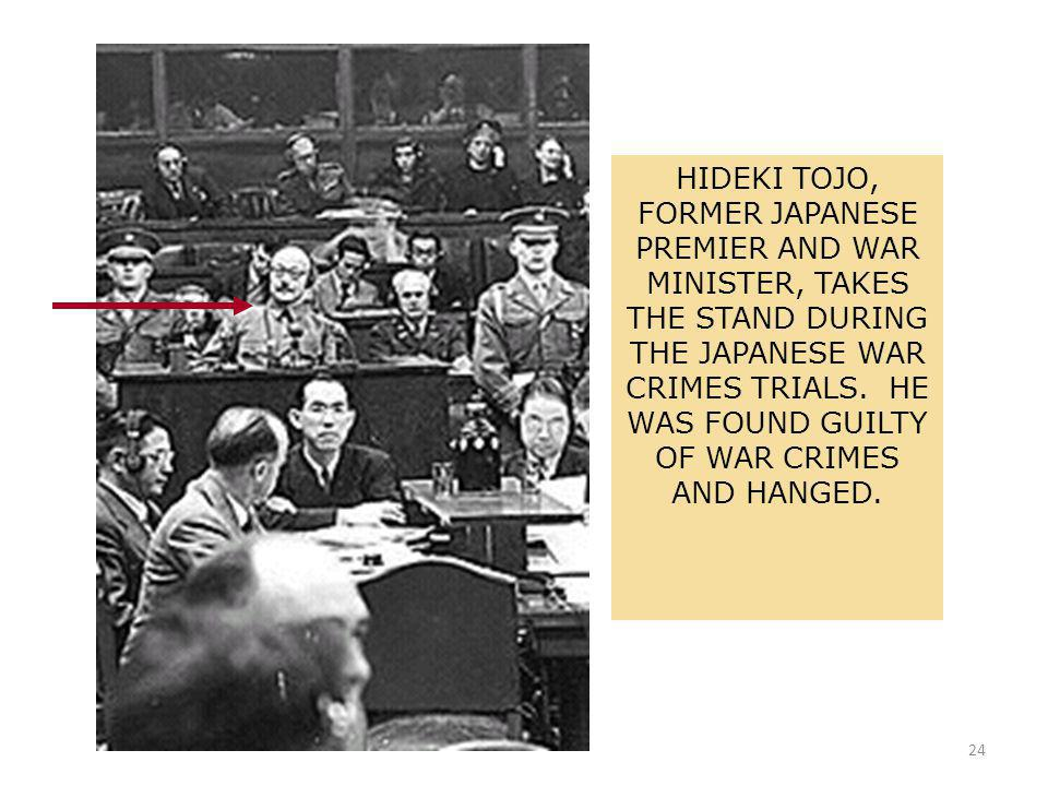 24 HIDEKI TOJO, FORMER JAPANESE PREMIER AND WAR MINISTER, TAKES THE STAND DURING THE JAPANESE WAR CRIMES TRIALS.