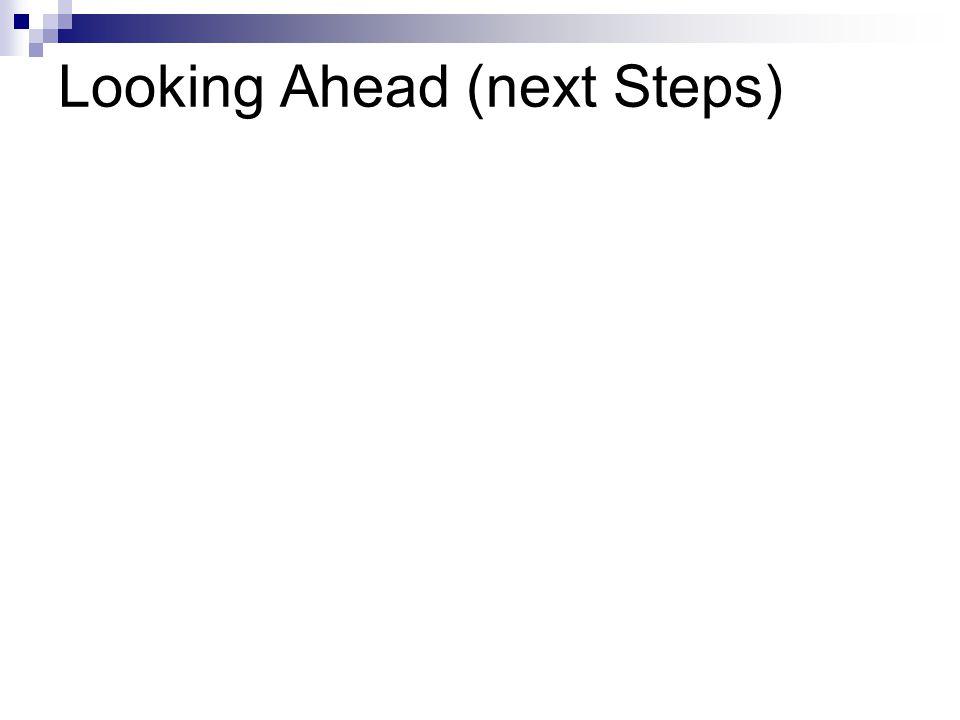 Looking Ahead (next Steps)