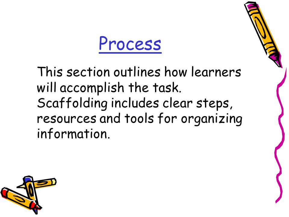 Process This section outlines how learners will accomplish the task.
