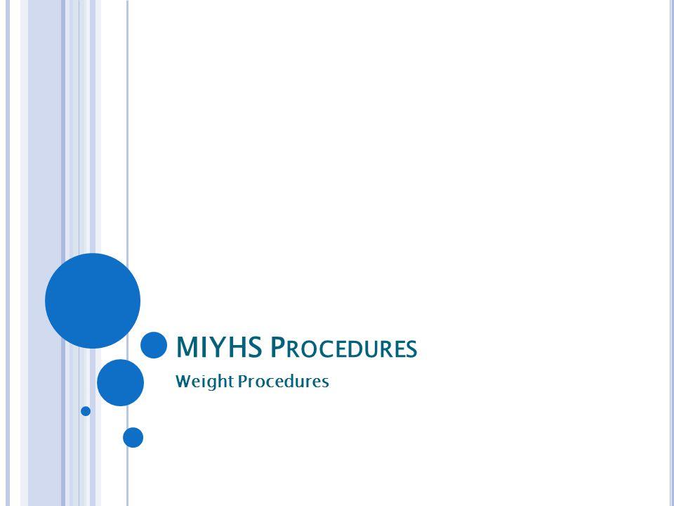 MIYHS P ROCEDURES Weight Procedures