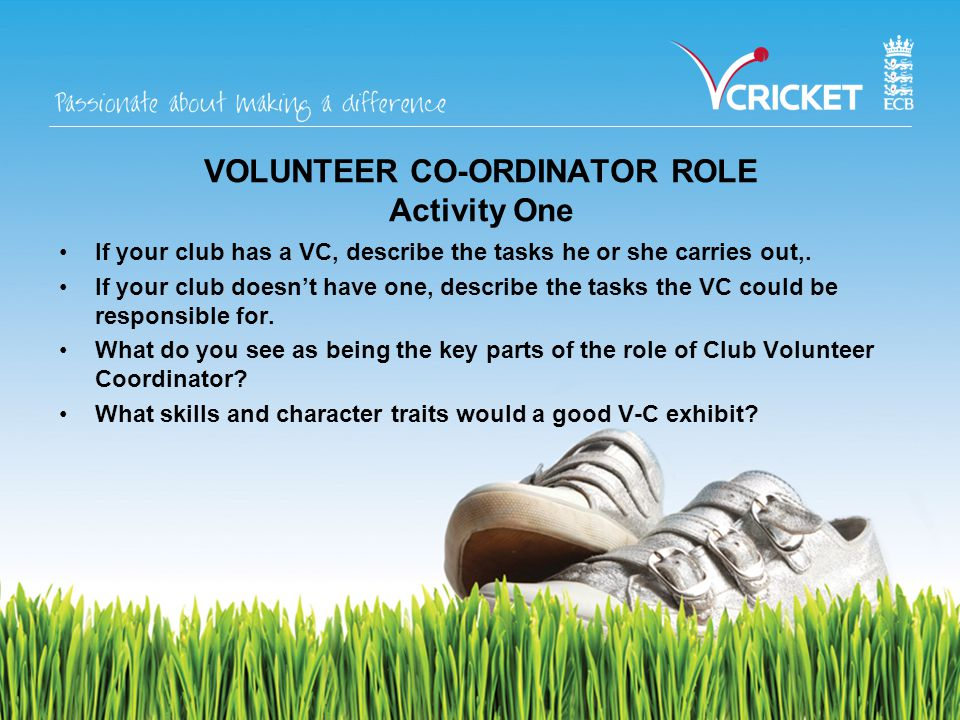 VOLUNTEER CO-ORDINATOR ROLE Activity One If your club has a VC, describe the tasks he or she carries out,.