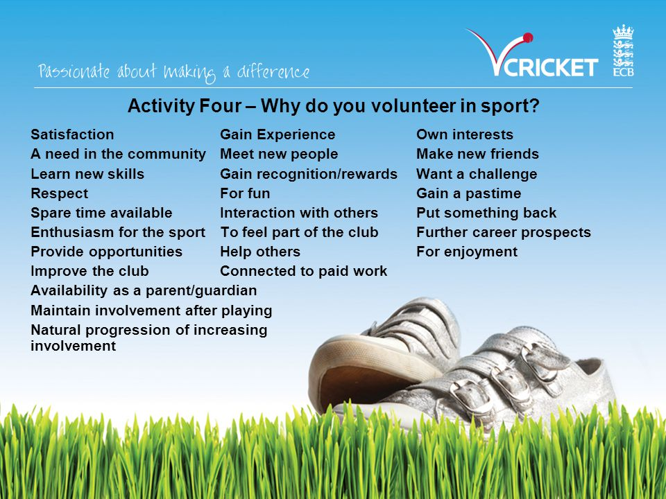 Activity Four – Why do you volunteer in sport.