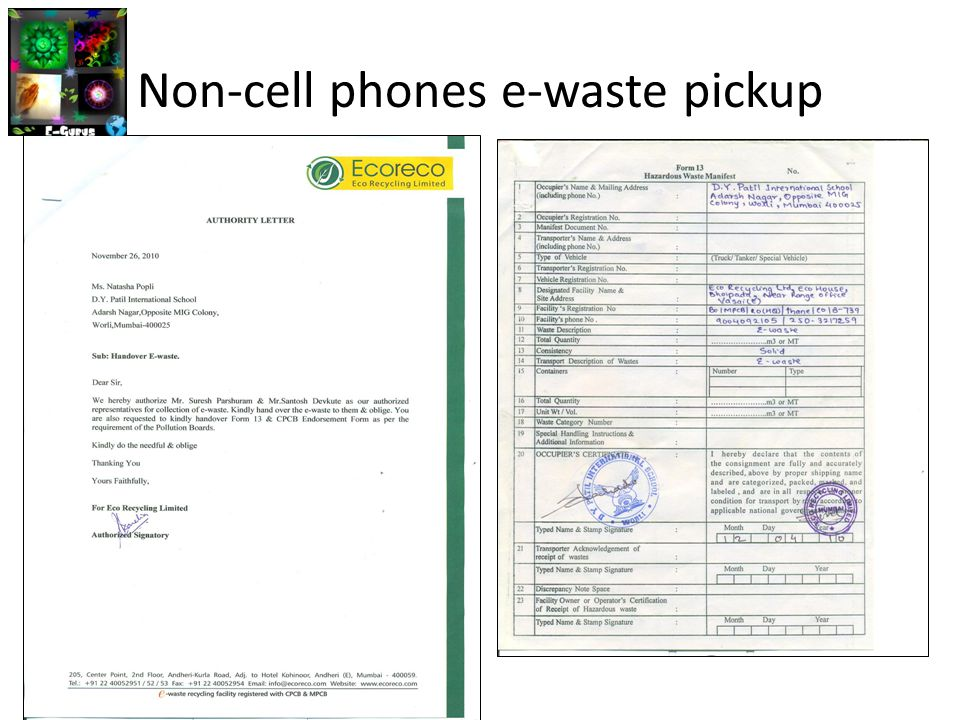 Non-cell phones e-waste pickup