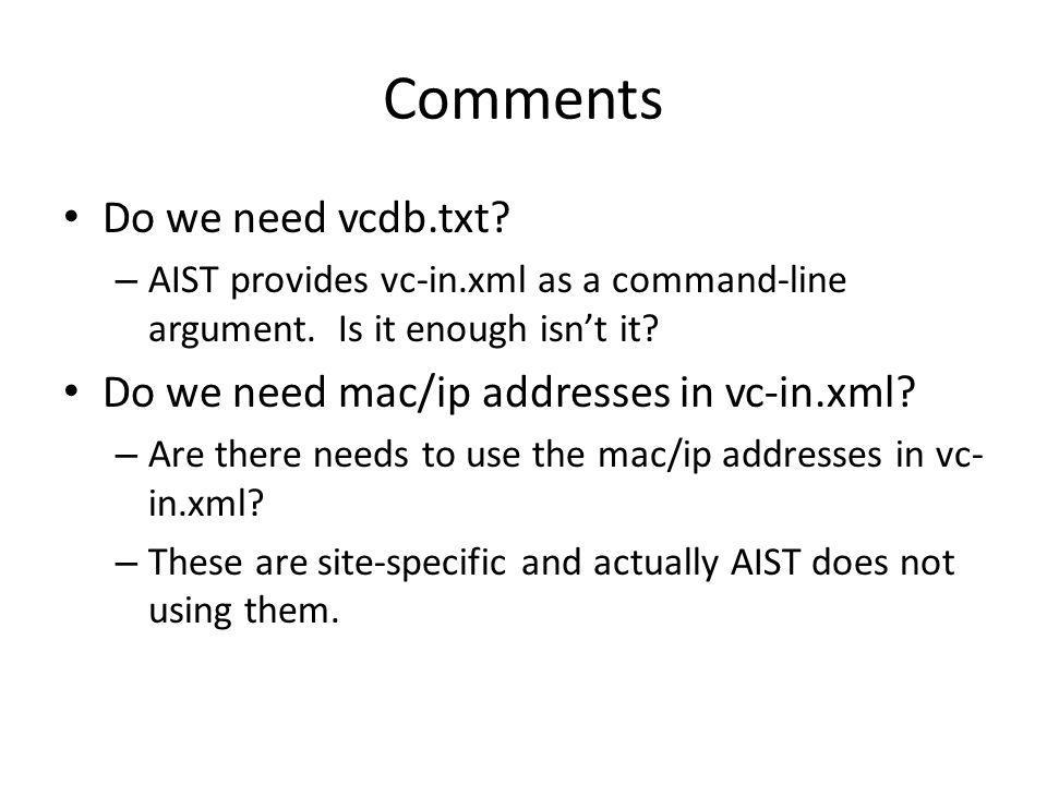 Comments Do we need vcdb.txt. – AIST provides vc-in.xml as a command-line argument.