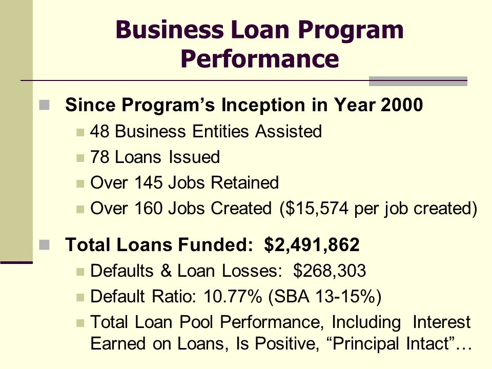 Business Loan Program Performance Since Program's Inception in Year 2000 48 Business Entities Assisted 78 Loans Issued Over 145 Jobs Retained Over 160 Jobs Created ($15,574 per job created) Total Loans Funded: $2,491,862 Defaults & Loan Losses: $268,303 Default Ratio: 10.77% (SBA 13-15%) Total Loan Pool Performance, Including Interest Earned on Loans, Is Positive, Principal Intact …