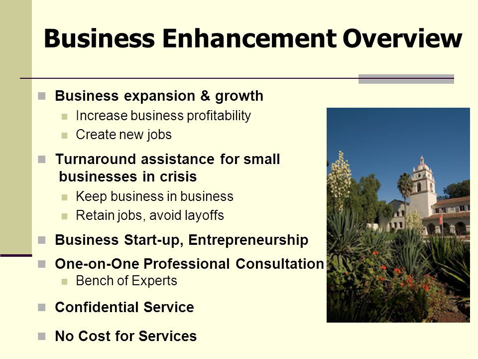 Business expansion & growth Increase business profitability Create new jobs Turnaround assistance for small businesses in crisis Keep business in business Retain jobs, avoid layoffs Business Start-up, Entrepreneurship One-on-One Professional Consultation Bench of Experts Confidential Service No Cost for Services Business Enhancement Overview