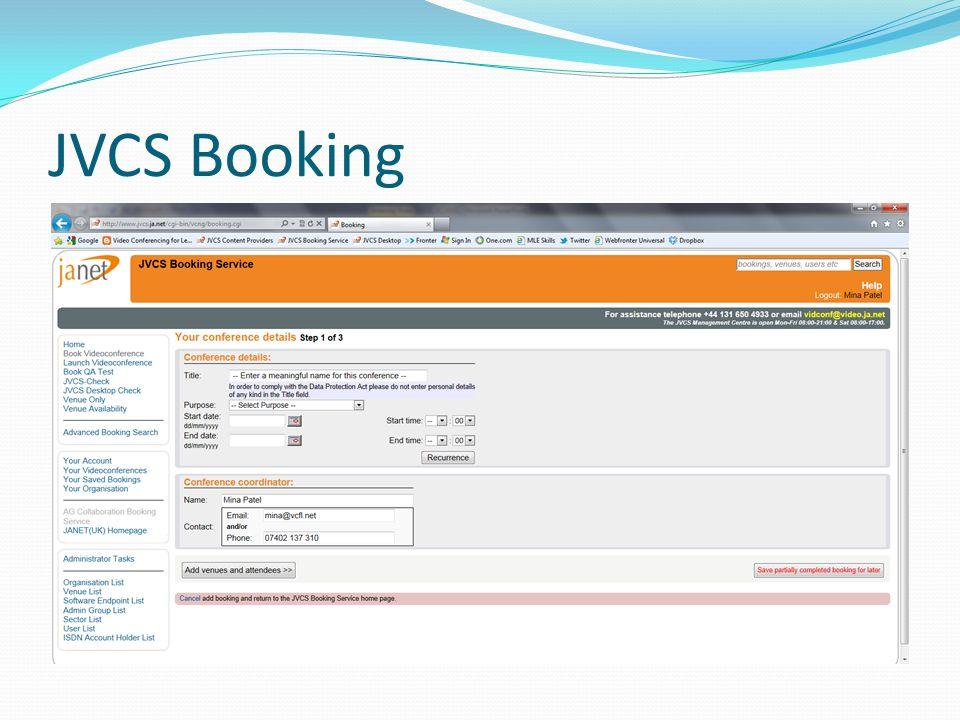 JVCS Booking