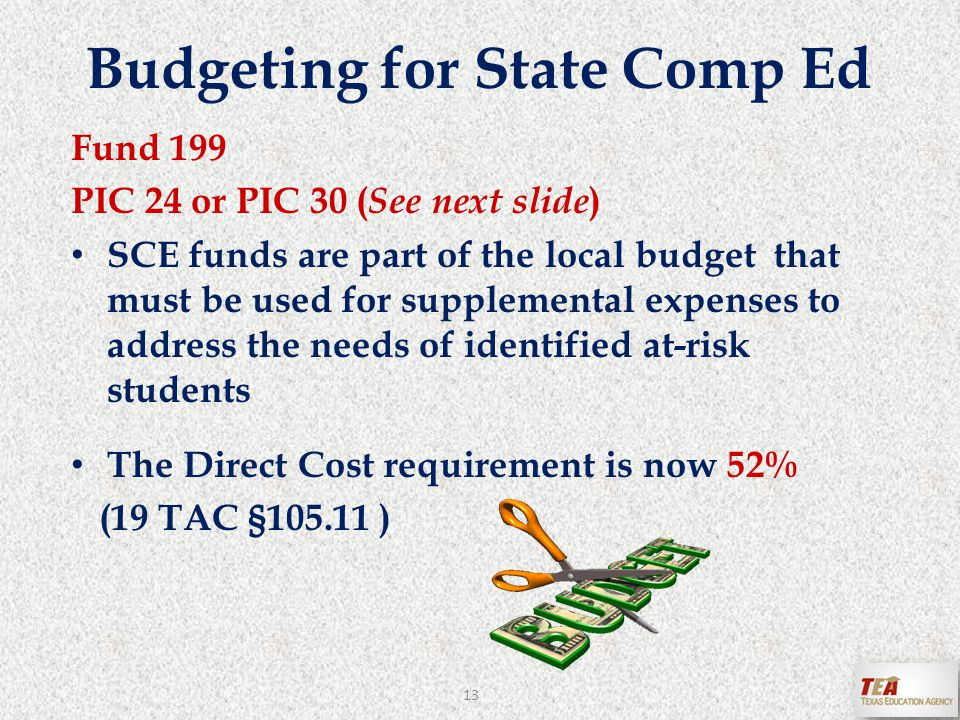 Budgeting for State Comp Ed Fund 199 PIC 24 or PIC 30 ( See next slide ) SCE funds are part of the local budget that must be used for supplemental expenses to address the needs of identified at-risk students The Direct Cost requirement is now 52% (19 TAC §105.11 ) 13