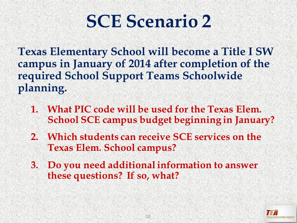 SCE Scenario 2 Texas Elementary School will become a Title I SW campus in January of 2014 after completion of the required School Support Teams Schoolwide planning.