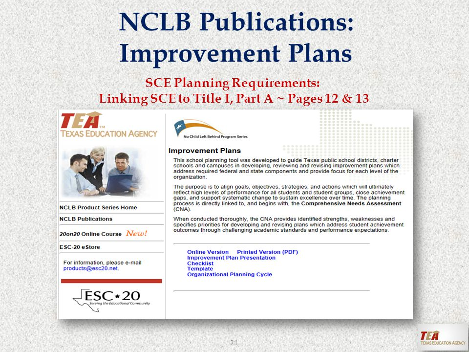 NCLB Publications: Improvement Plans SCE Planning Requirements: Linking SCE to Title I, Part A ~ Pages 12 & 13 21
