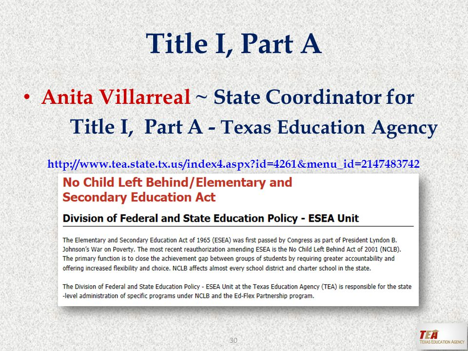 Title I, Part A Anita Villarreal ~ State Coordinator for Title I, Part A - Texas Education Agency http://www.tea.state.tx.us/index4.aspx id=4261&menu_id=2147483742 30