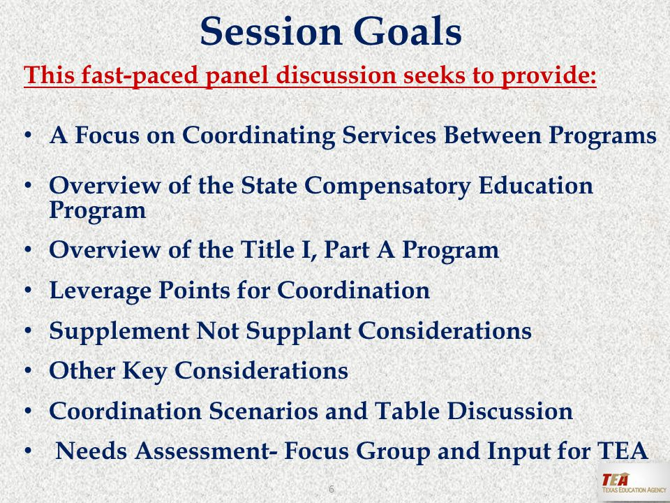 1.What are 2-3 take-away ideas for SCE and Title 1, Part A coordination.