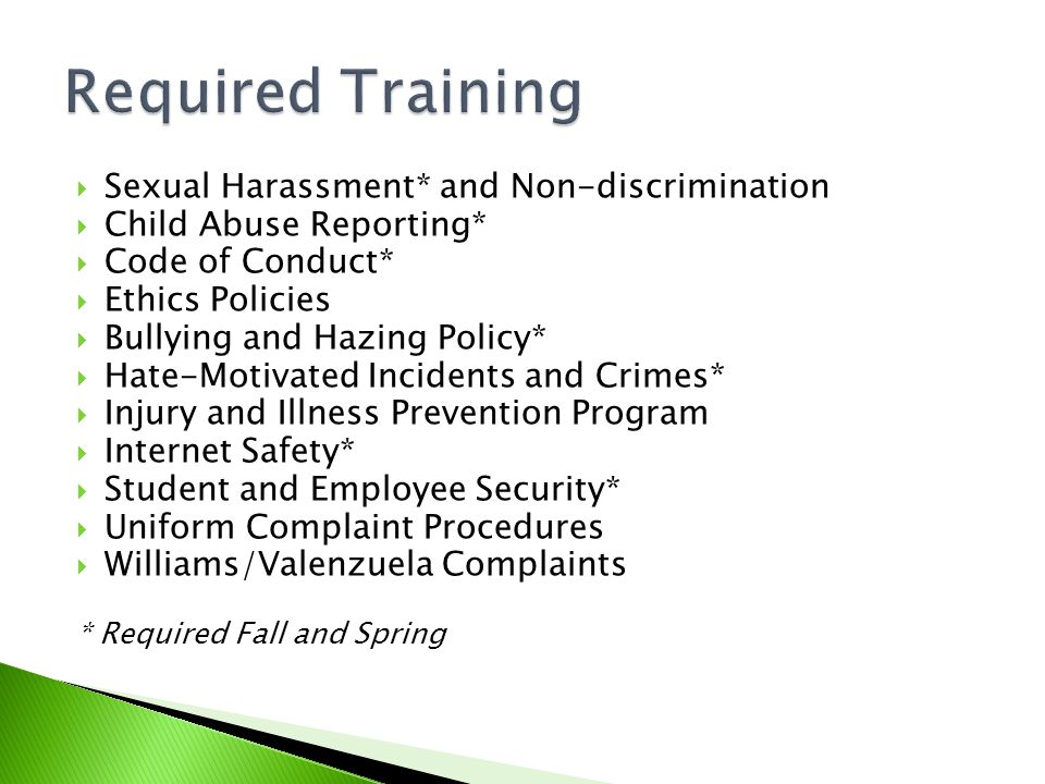  Sexual Harassment* and Non-discrimination  Child Abuse Reporting*  Code of Conduct*  Ethics Policies  Bullying and Hazing Policy*  Hate-Motivated Incidents and Crimes*  Injury and Illness Prevention Program  Internet Safety*  Student and Employee Security*  Uniform Complaint Procedures  Williams/Valenzuela Complaints * Required Fall and Spring