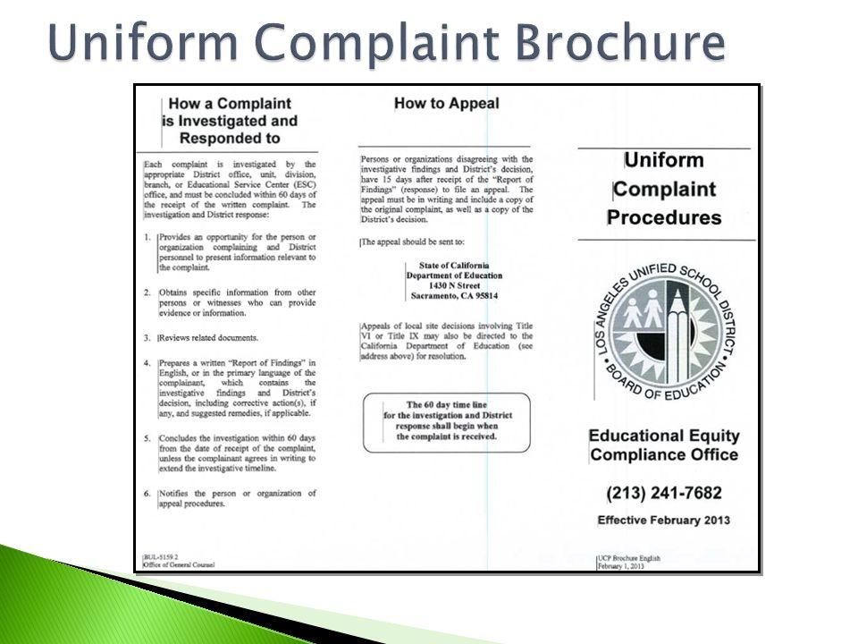 Uniform Complaint Brochure Uniform Complaint Brochure