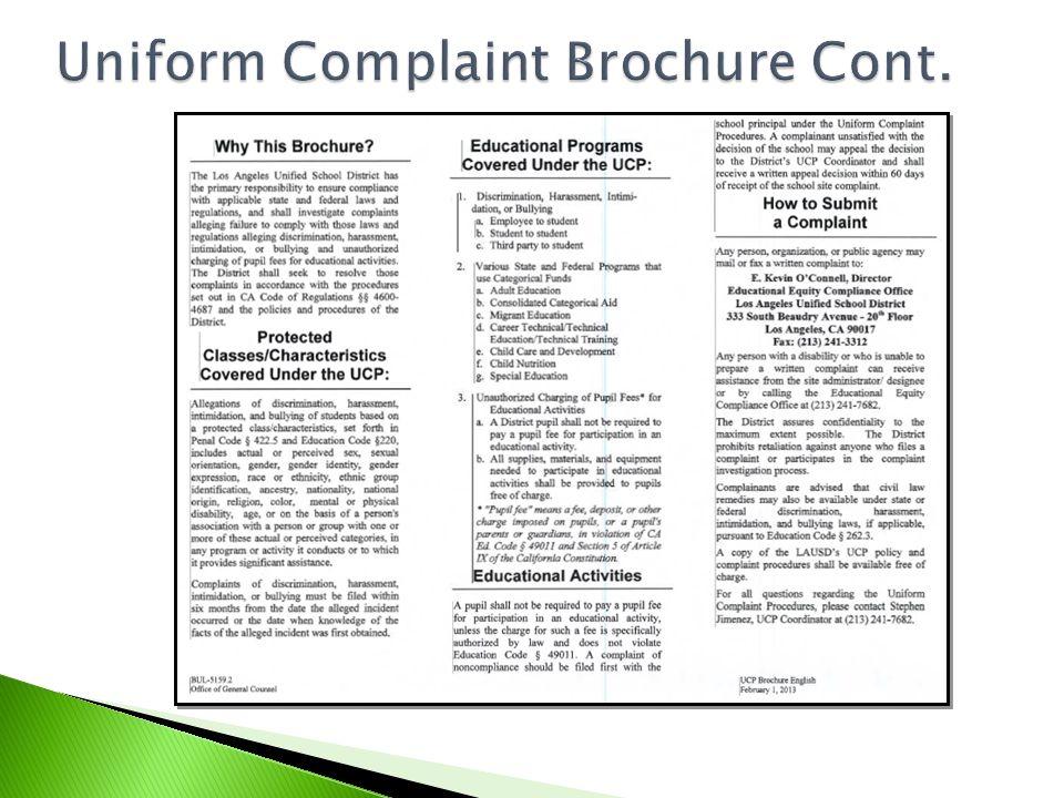 Uniform Complaint Brochure Cont.