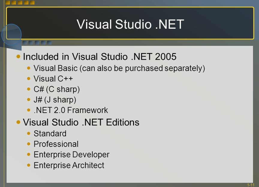 1-11 Visual Studio.NET Included in Visual Studio.NET 2005 Visual Basic (can also be purchased separately) Visual C++ C# (C sharp) J# (J sharp).NET 2.0