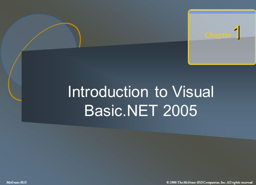 Introduction to Visual Basic.NET 2005 Chapter 1 1 McGraw-Hill© 2006 The McGraw-Hill Companies, Inc. All rights reserved.
