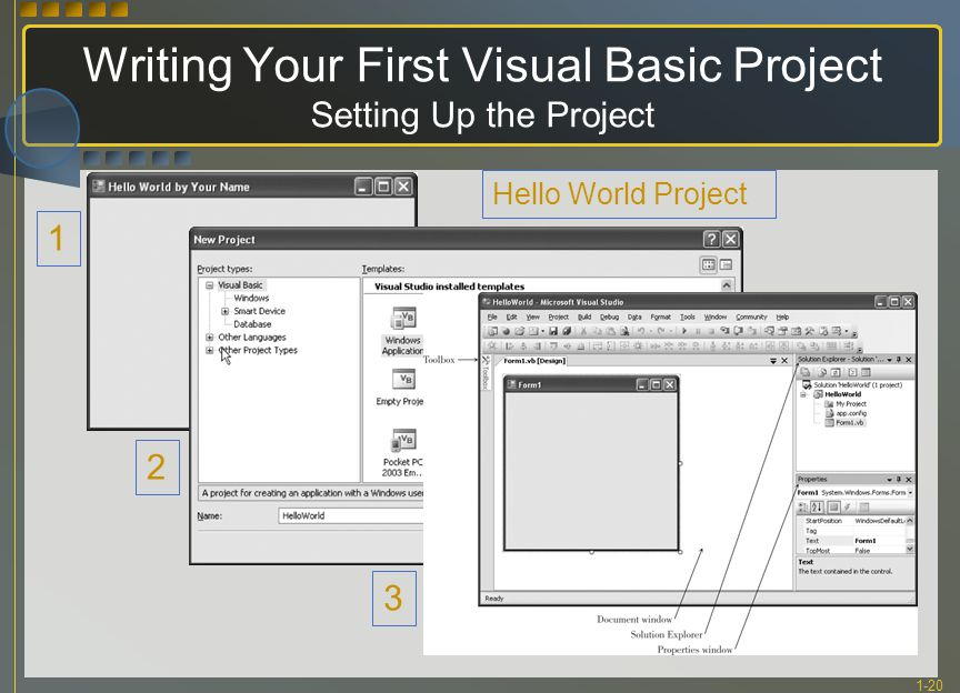 1-20 Writing Your First Visual Basic Project Setting Up the Project 1 2 3 Hello World Project
