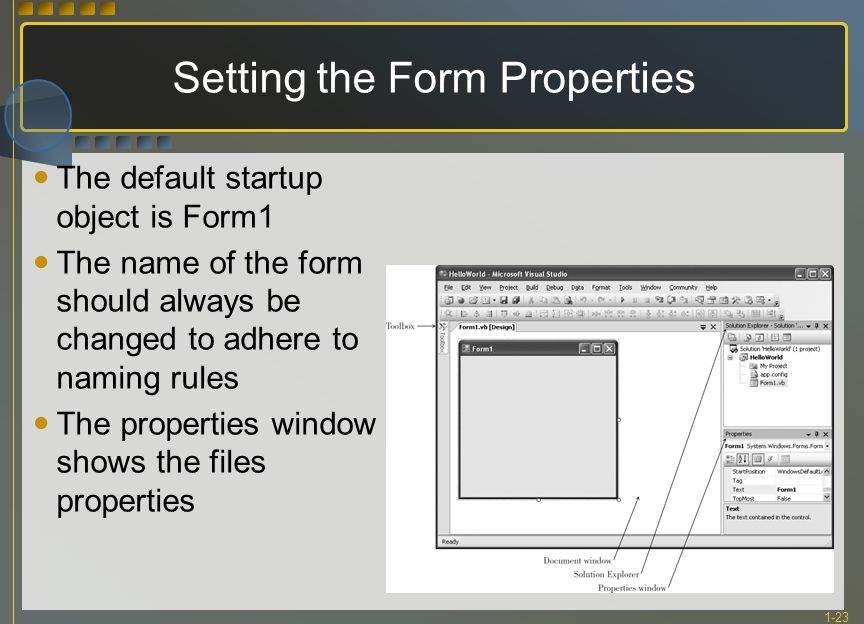 1-23 Setting the Form Properties The default startup object is Form1 The name of the form should always be changed to adhere to naming rules The prope