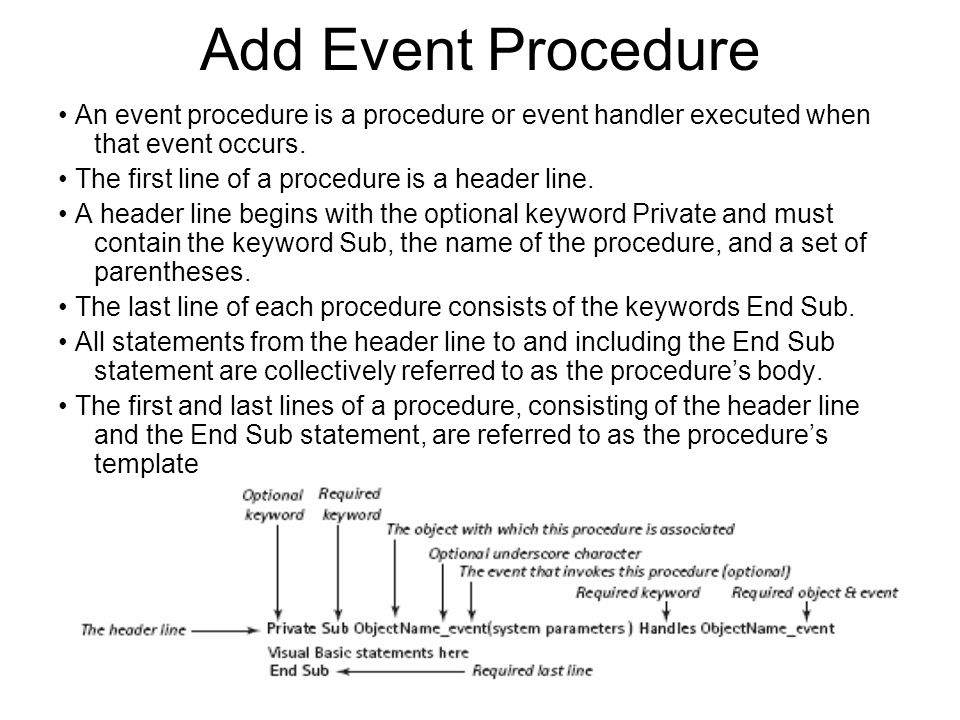 Add Event Procedure An event procedure is a procedure or event handler executed when that event occurs.