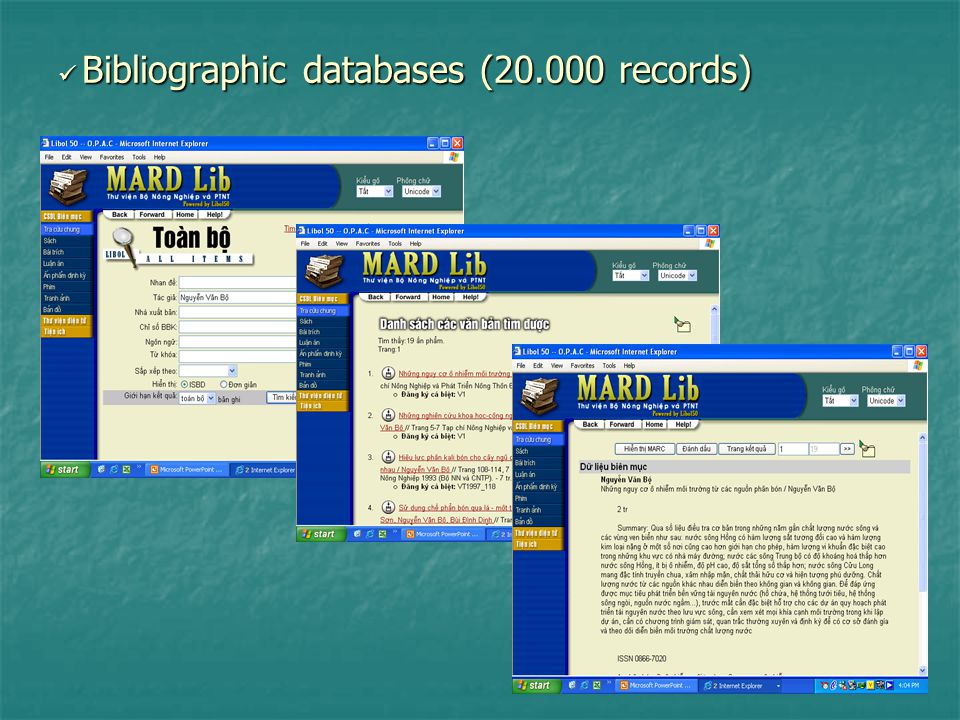Bibliographic databases (20.000 records) Bibliographic databases (20.000 records)
