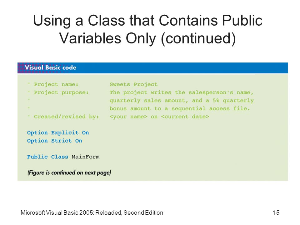 Microsoft Visual Basic 2005: Reloaded, Second Edition15 Using a Class that Contains Public Variables Only (continued)