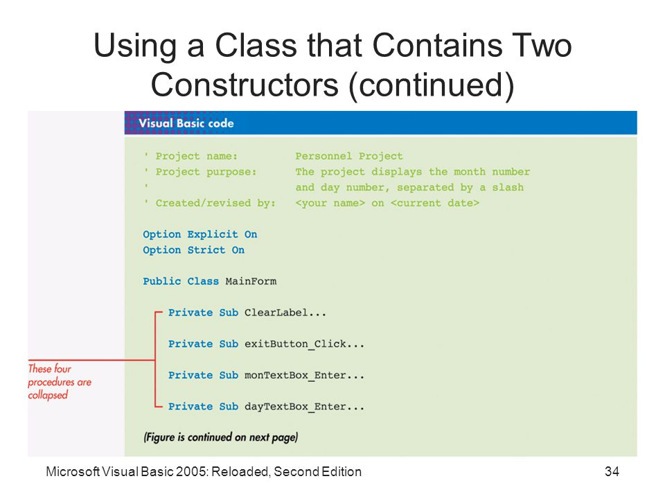 Microsoft Visual Basic 2005: Reloaded, Second Edition34 Using a Class that Contains Two Constructors (continued)