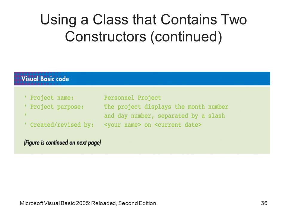 Microsoft Visual Basic 2005: Reloaded, Second Edition36 Using a Class that Contains Two Constructors (continued)