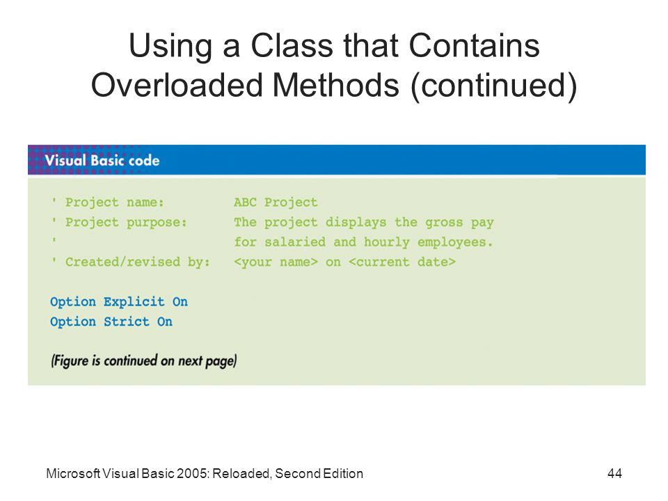 Microsoft Visual Basic 2005: Reloaded, Second Edition44 Using a Class that Contains Overloaded Methods (continued)