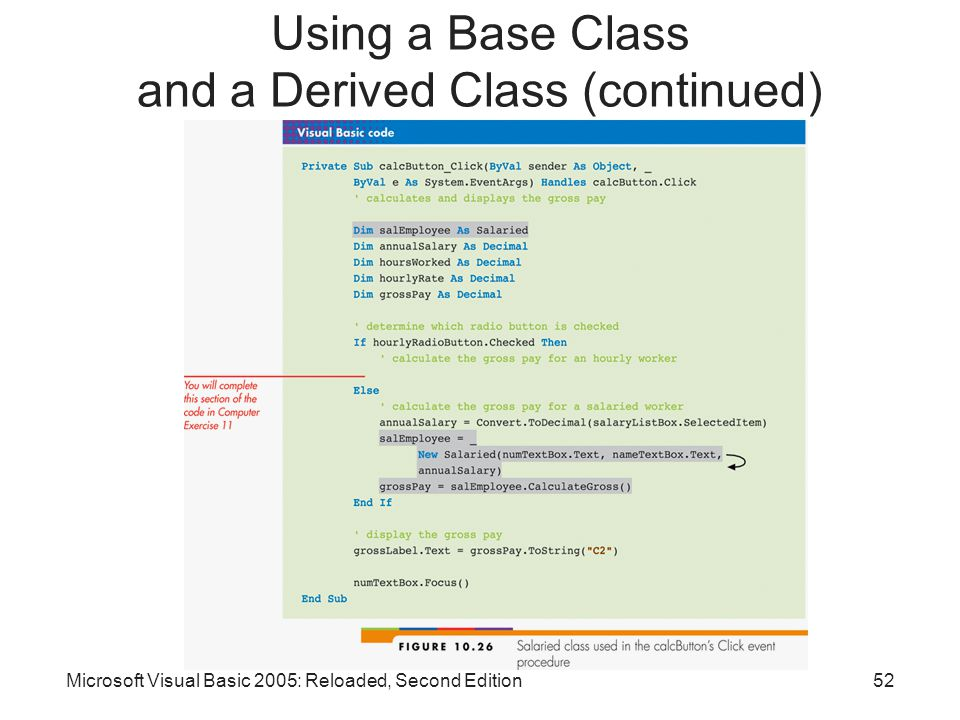 Microsoft Visual Basic 2005: Reloaded, Second Edition52 Using a Base Class and a Derived Class (continued)