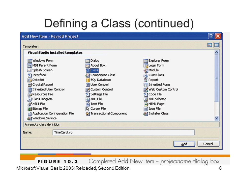 Microsoft Visual Basic 2005: Reloaded, Second Edition8 Defining a Class (continued)