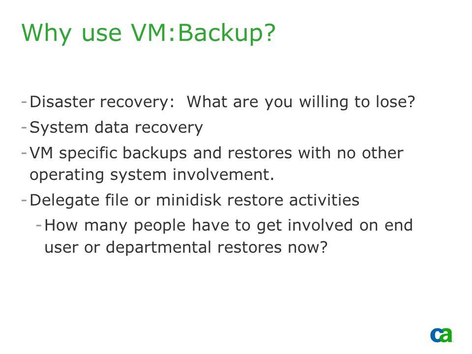 Copyright 2002, Computer Associates International, Inc Why use VM:Backup.