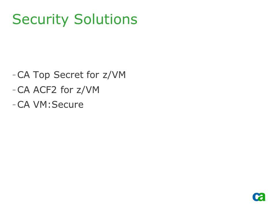 Copyright 2002, Computer Associates International, Inc Security Solutions -CA Top Secret for z/VM -CA ACF2 for z/VM -CA VM:Secure