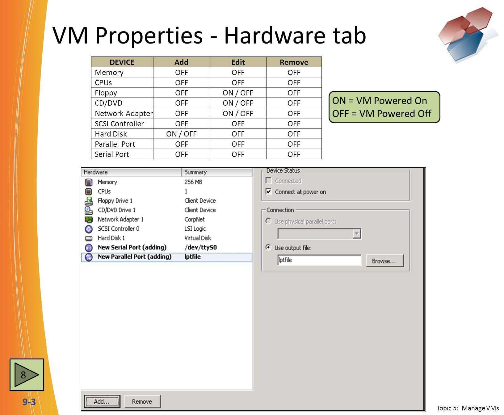 9-3 VM Properties - Hardware tab Topic 5: Manage VMs DEVICEAddEditRemove MemoryOFF CPUsOFF FloppyOFFON / OFFOFF CD/DVDOFFON / OFFOFF Network AdapterOF