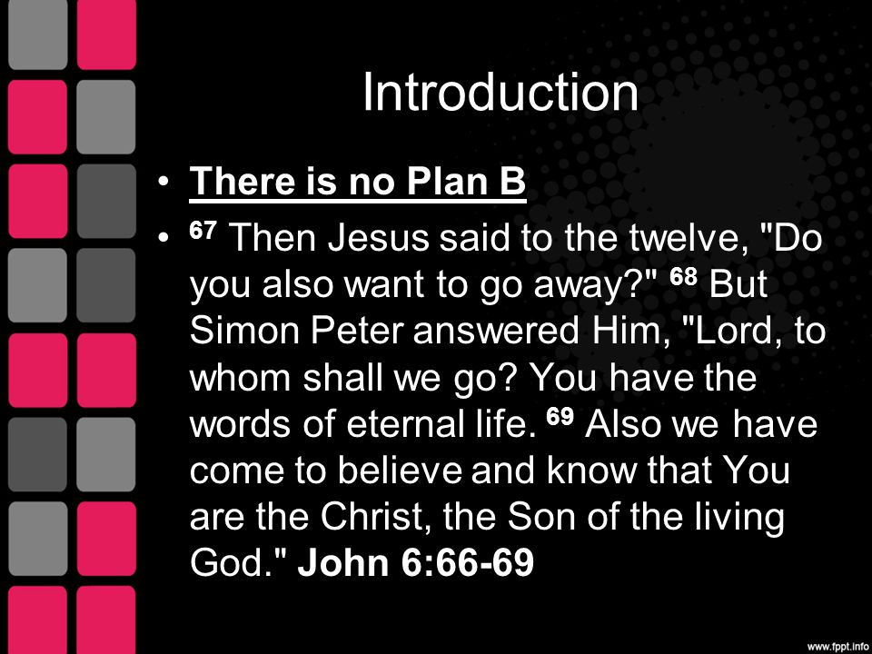 Jesus rejected Plan B 15 Therefore when Jesus perceived that they were about to come and take Him by force to make Him king, He departed again to the mountain by Himself alone.