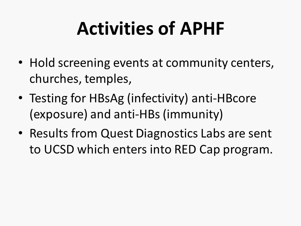 Activities of APHF Hold screening events at community centers, churches, temples, Testing for HBsAg (infectivity) anti-HBcore (exposure) and anti-HBs