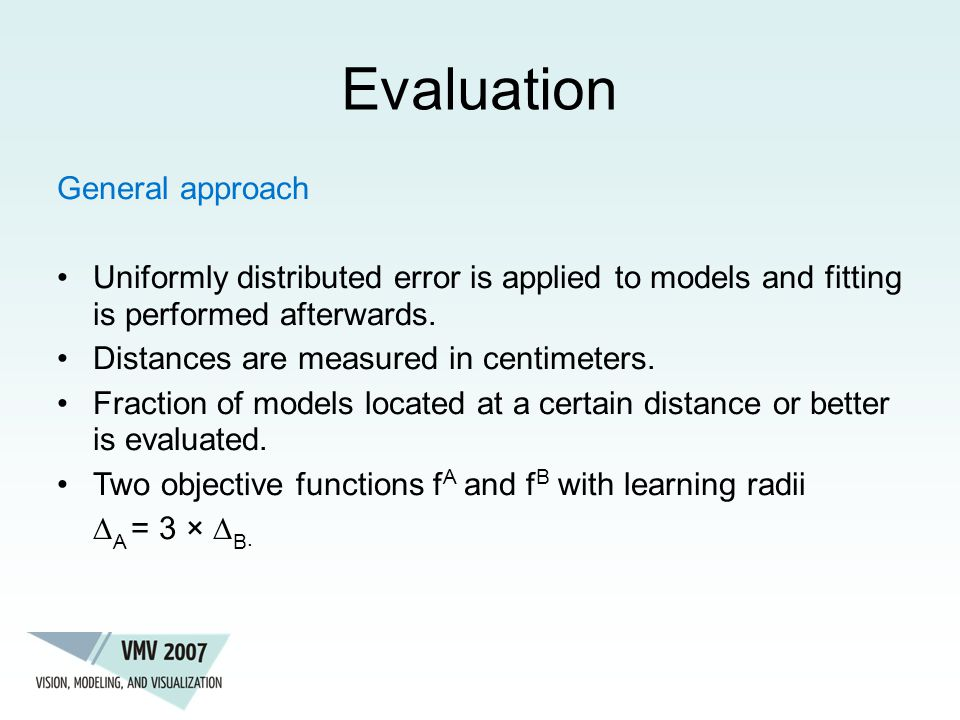 Evaluation General approach Uniformly distributed error is applied to models and fitting is performed afterwards.