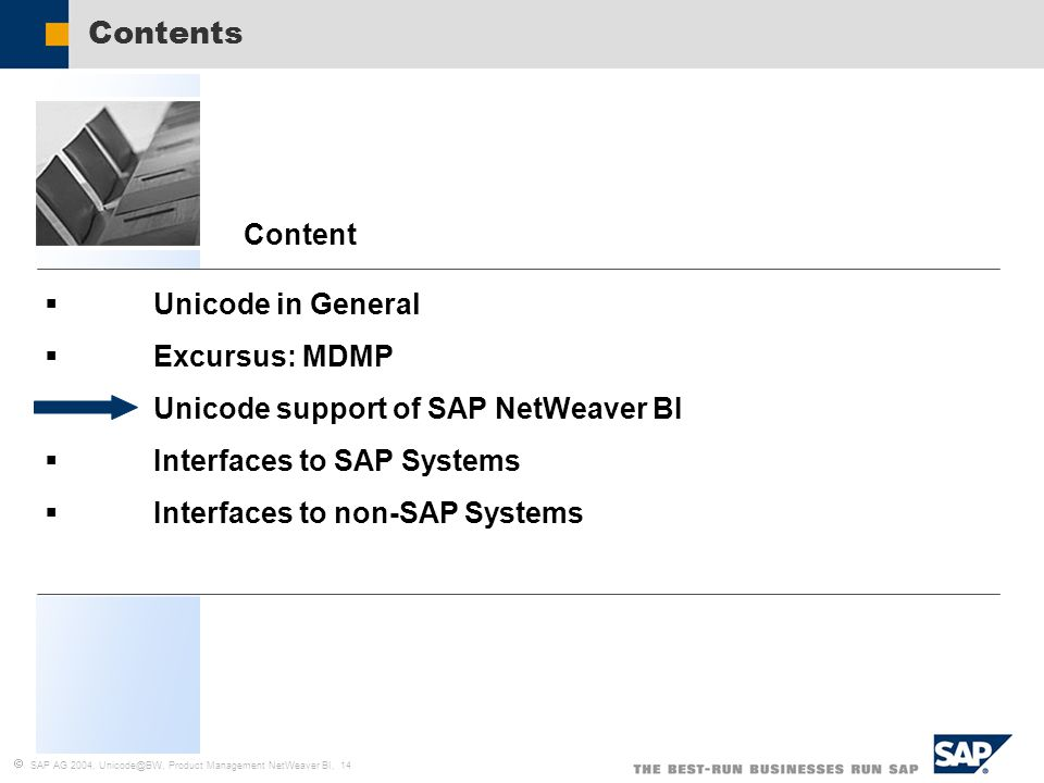  SAP AG 2004, Unicode@BW, Product Management NetWeaver BI, 14  Unicode in General  Excursus: MDMP  Unicode support of SAP NetWeaver BI  Interfaces to SAP Systems  Interfaces to non-SAP Systems Content Contents