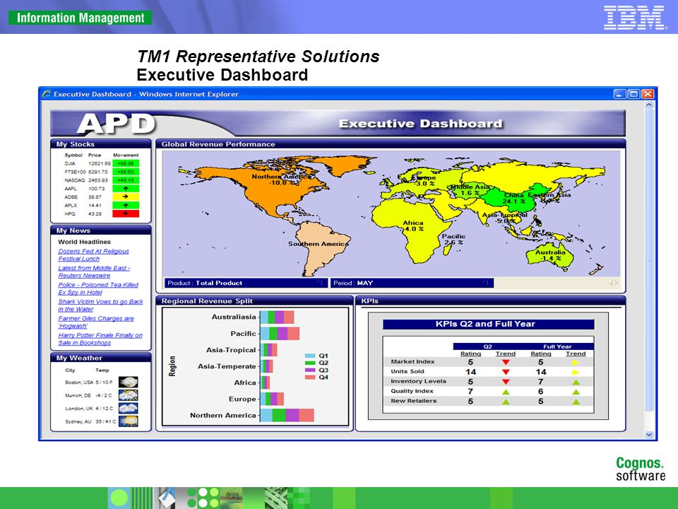 TM1 Representative Solutions Executive Dashboard